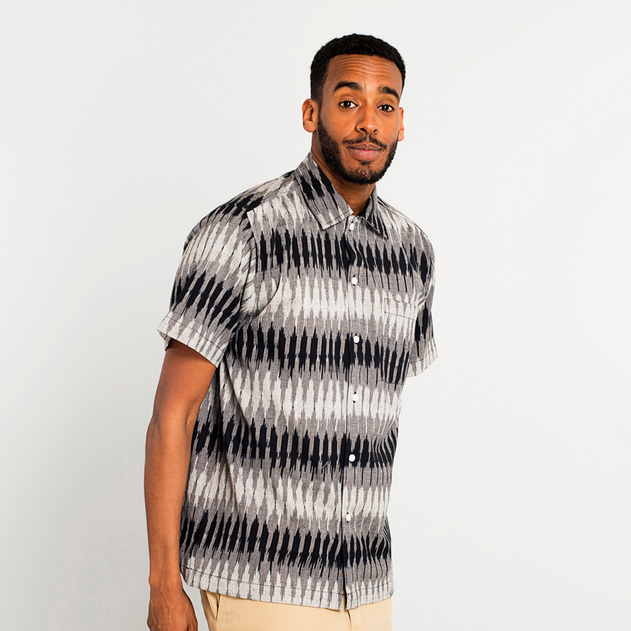 Shirt Short Sleeve Marstrand Handloom Fade Diamond