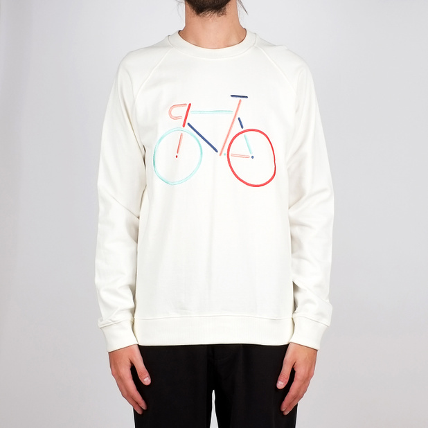 Sweatshirt Malmoe Color Bike Embroidery Off-White