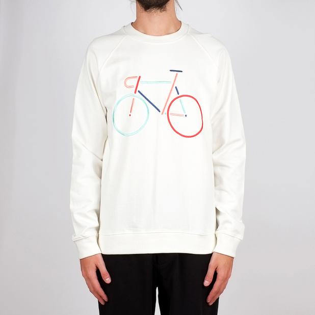 Sweatshirt Malmoe Color Bike Embroidery Off-White