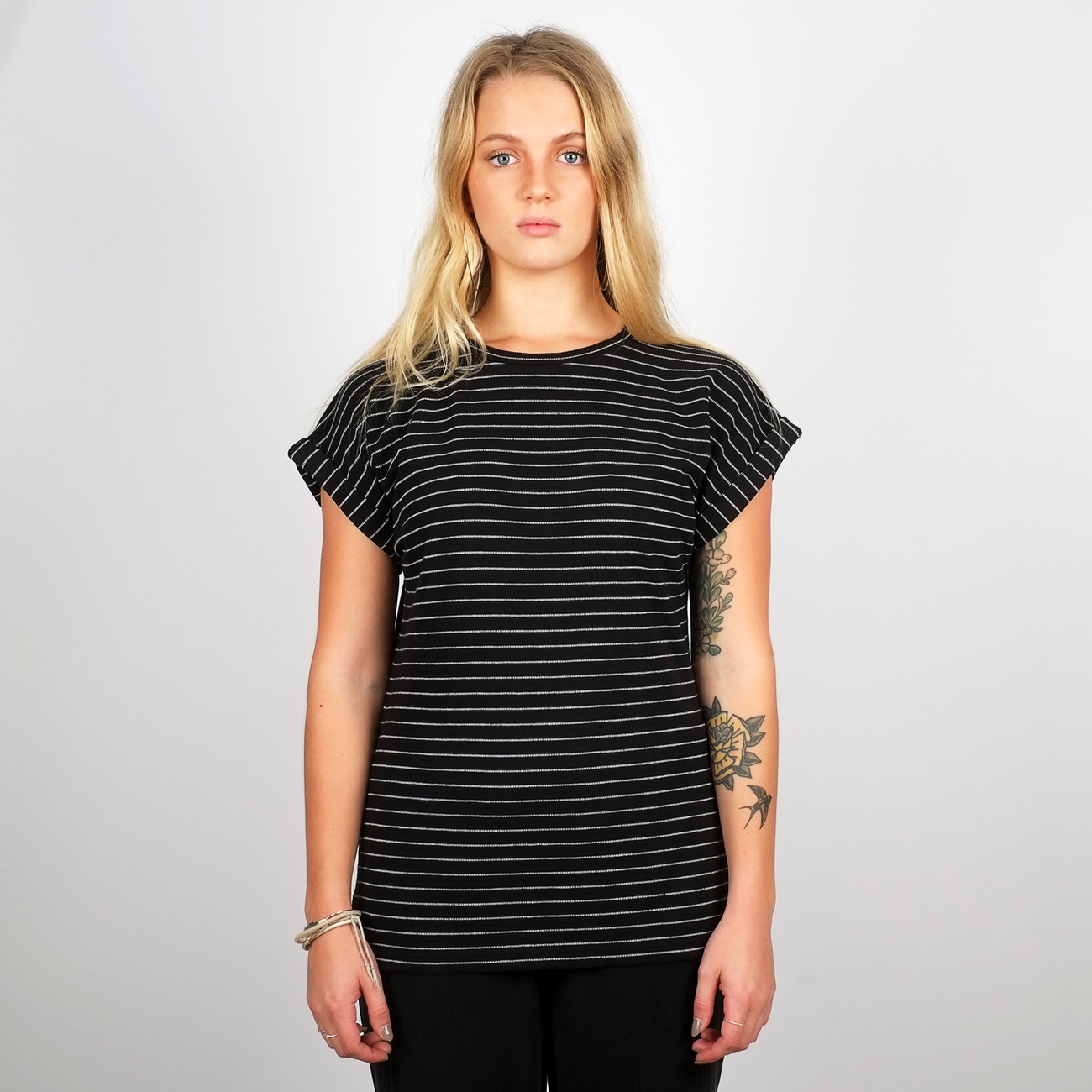 T-shirt Visby Jacquard Stripes Black