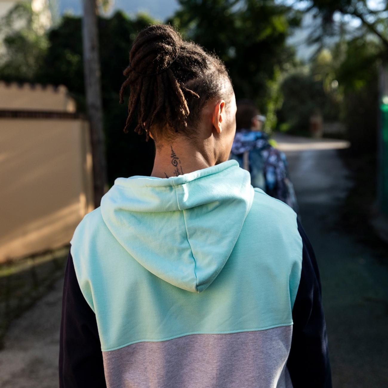 Hoodie Falun Split Blue Tint