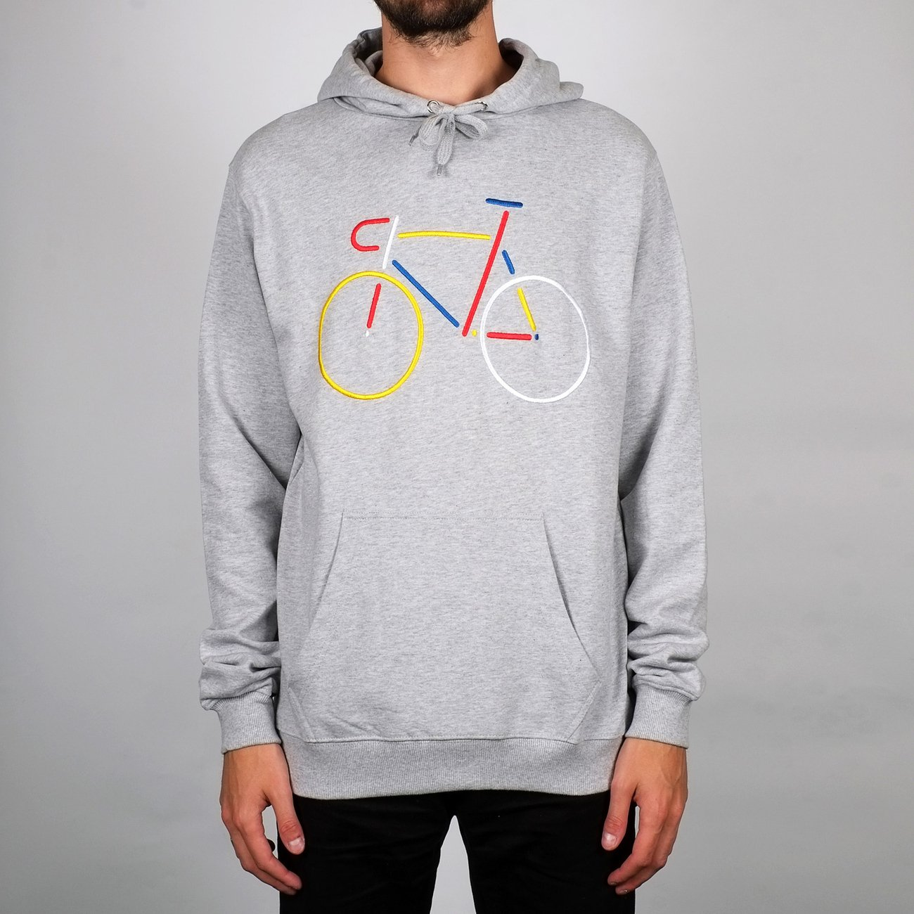 Hoodie Falun Color Bike Grey Melange