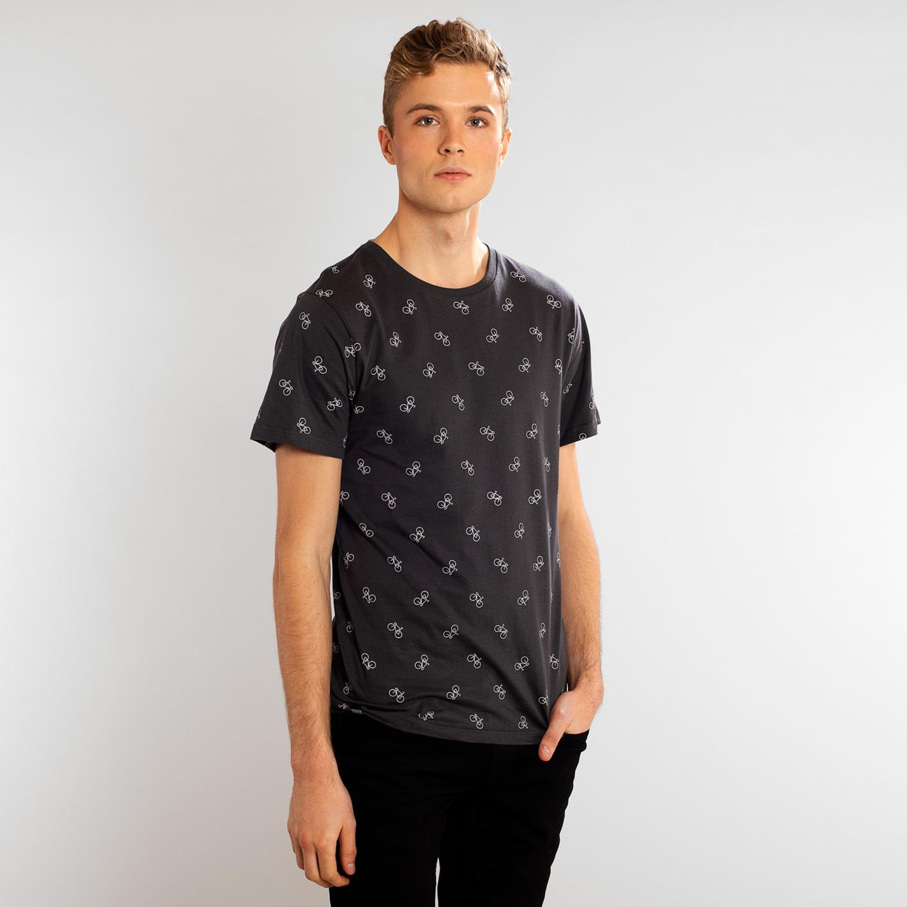 T-shirt Stockholm Bike Pattern Charcoal