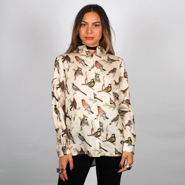 Skjorta Dorothea Autumn Birds Off-Vit