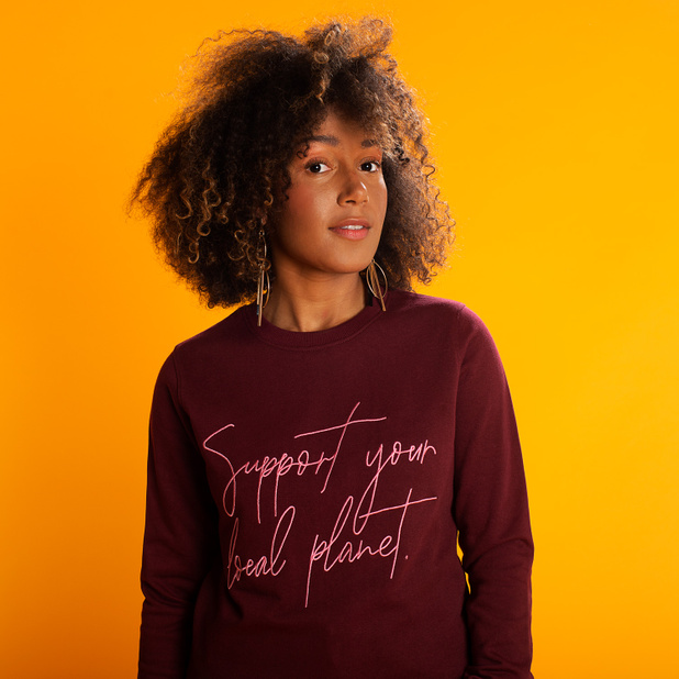 Sweatshirt Ystad Support Script Burgundy