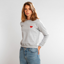 Sweatshirt Ystad Happy Heart Grey Melange