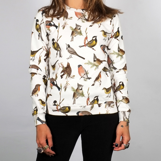 Sweatshirt Ystad Autumn Birds Off White
