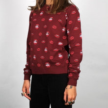 Sweatshirt Ystad Lips Pattern Burgundy