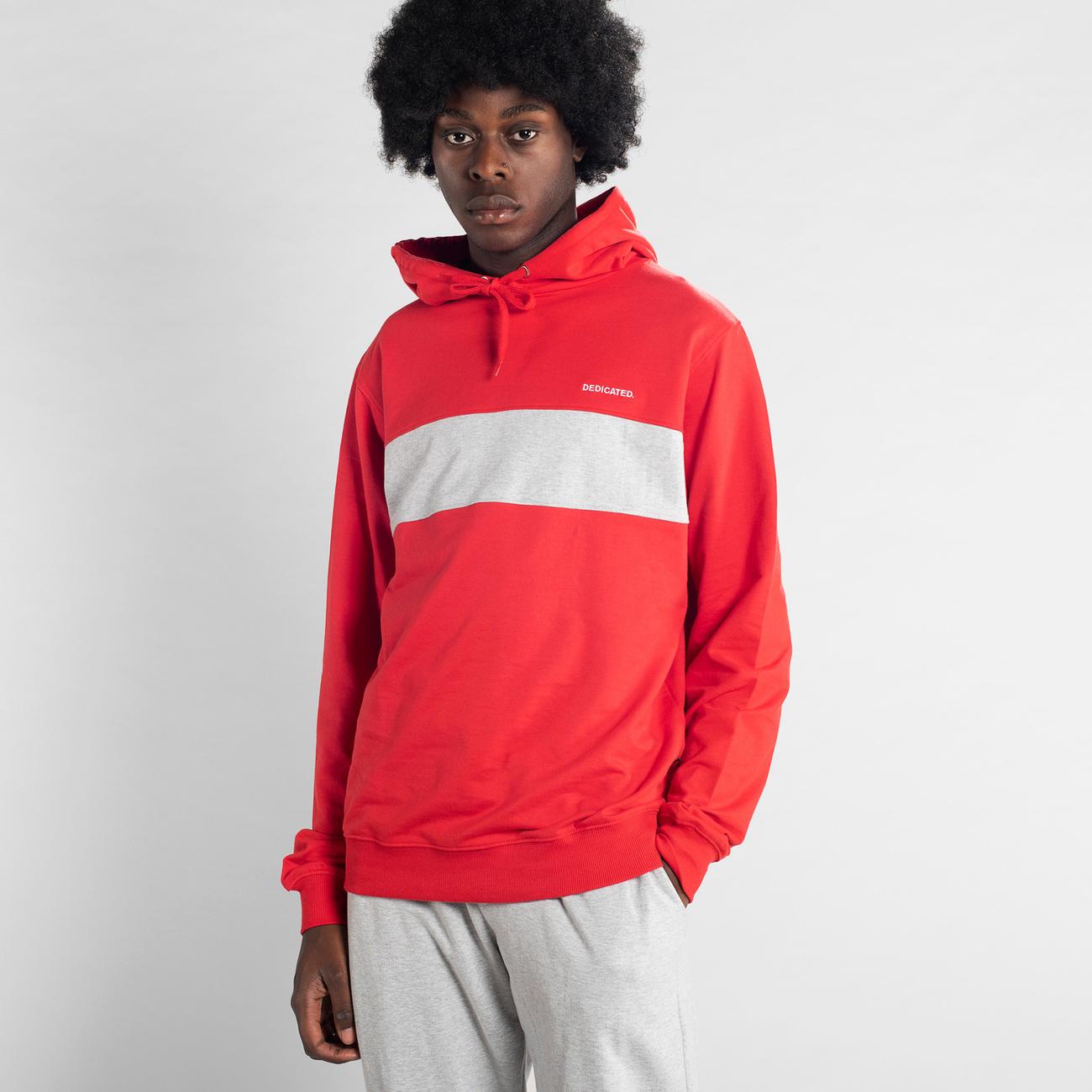Hoodie Falun Mono Stripe Red