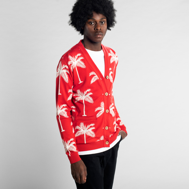 Cardigan Molkom Palms Red