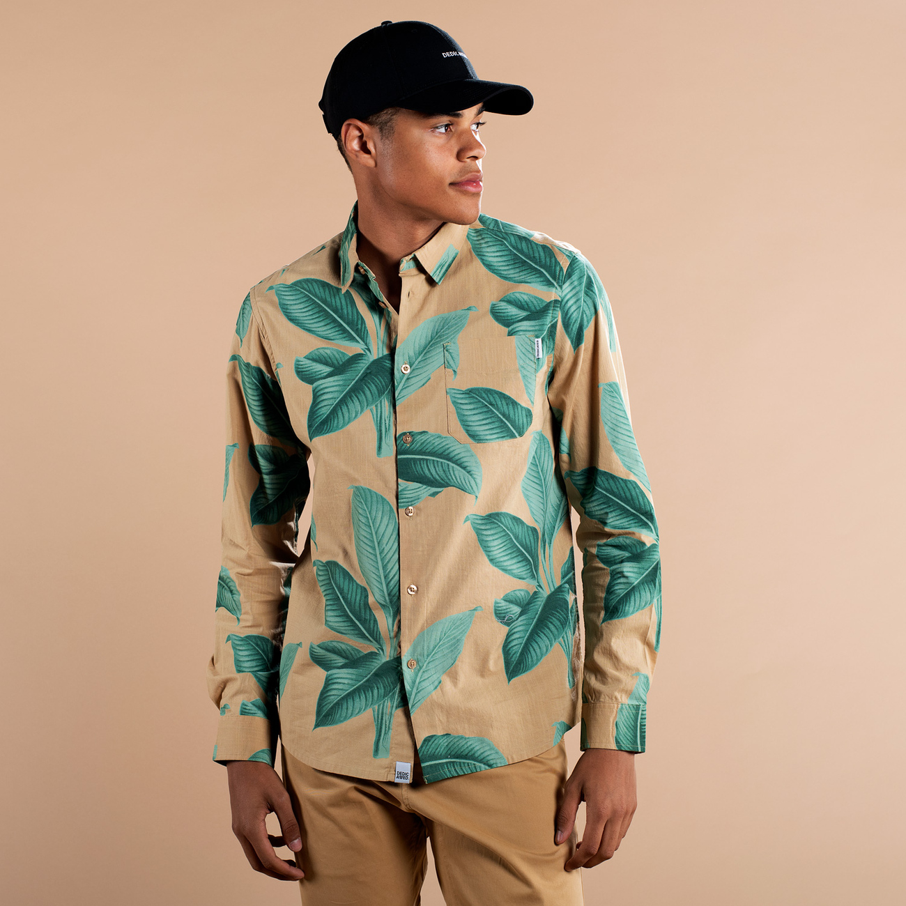 Shirt Varberg Khaki Leaves