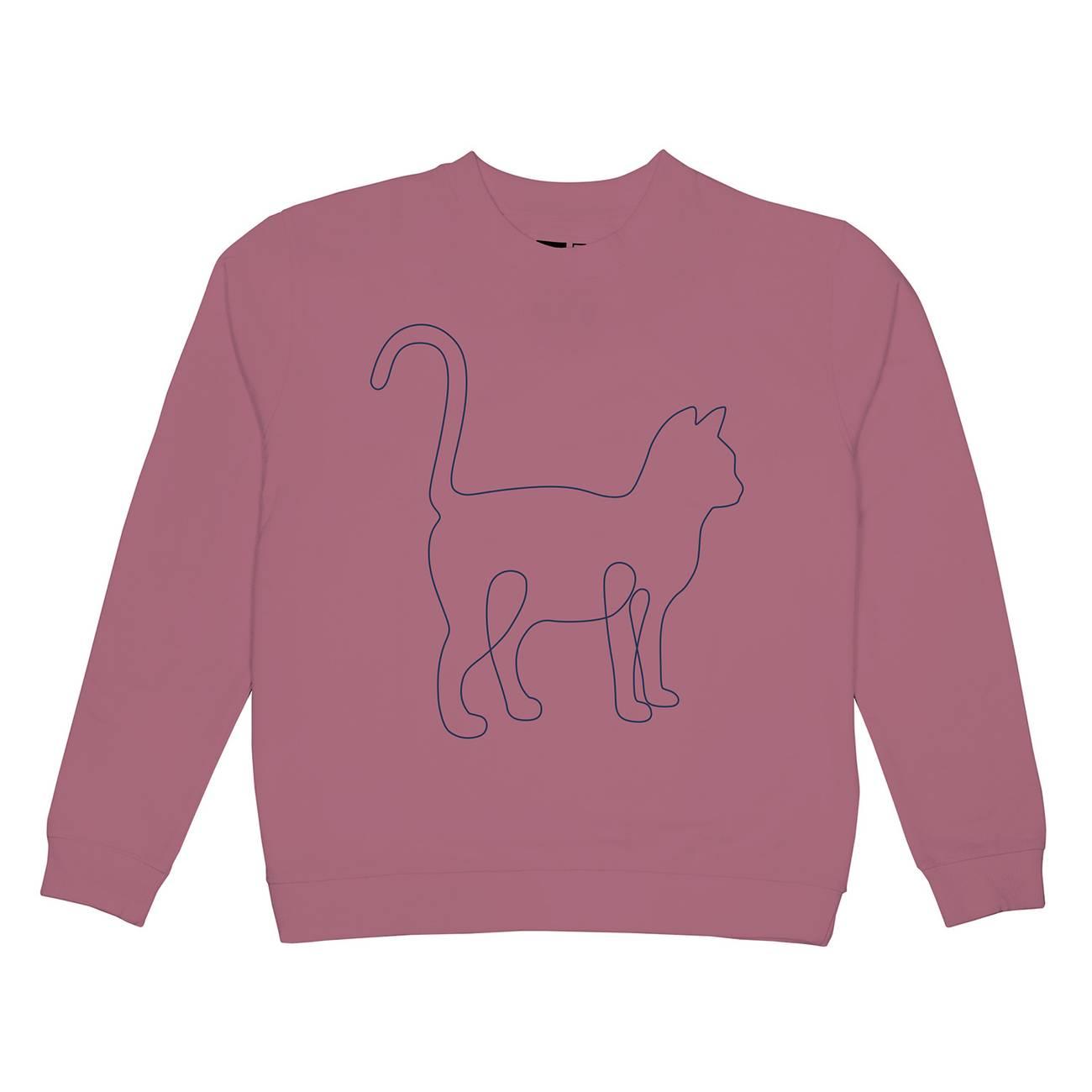 Sweatshirt Ystad One Line Cat Rose