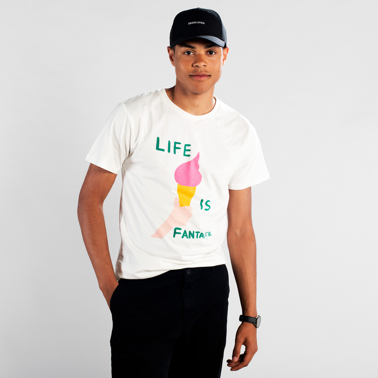 T-shirt Stockholm Life Is Fantastic Off-White
