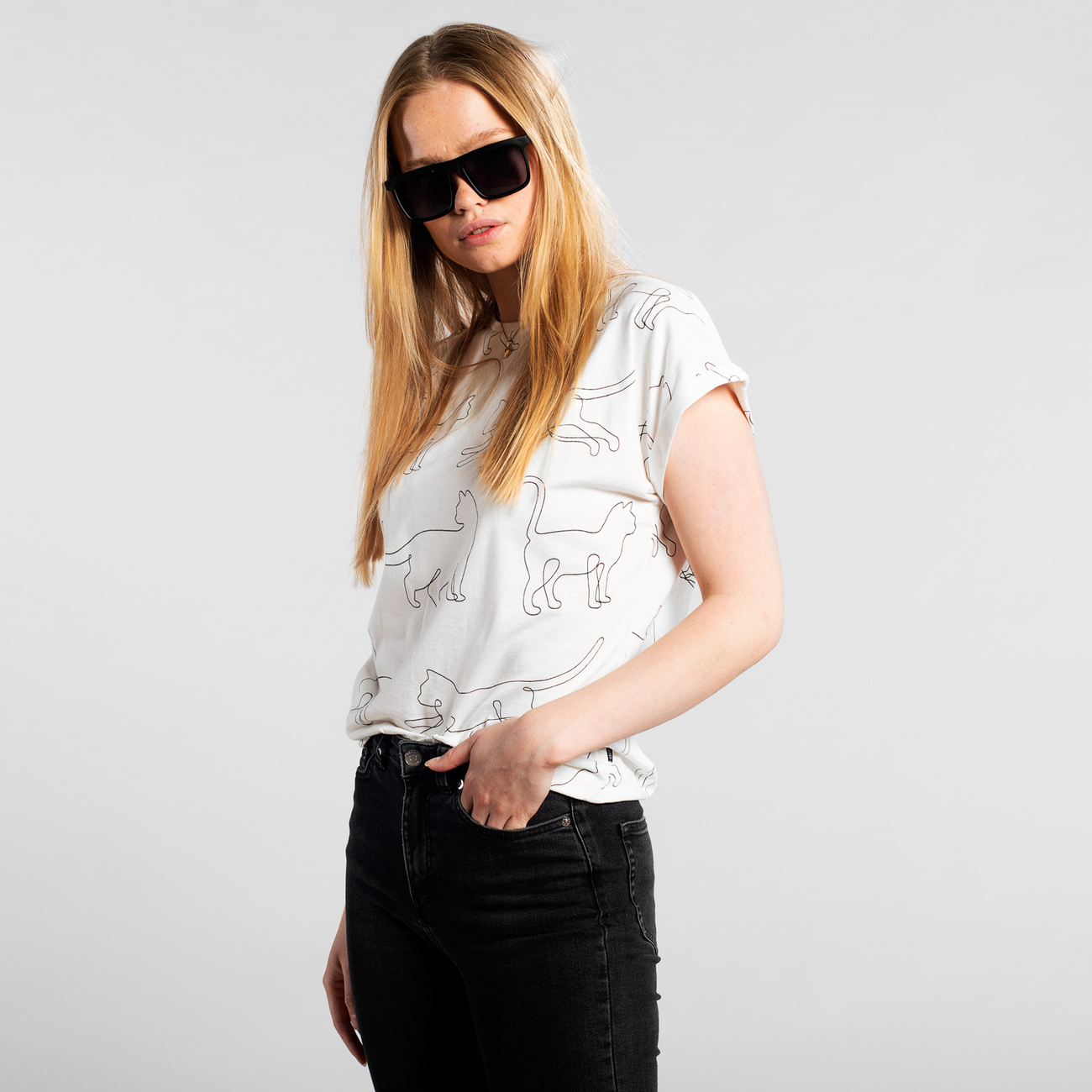 T-shirt Visby Cat Lines Off-White