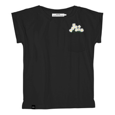 T-shirt Visby Flower Pocket Black
