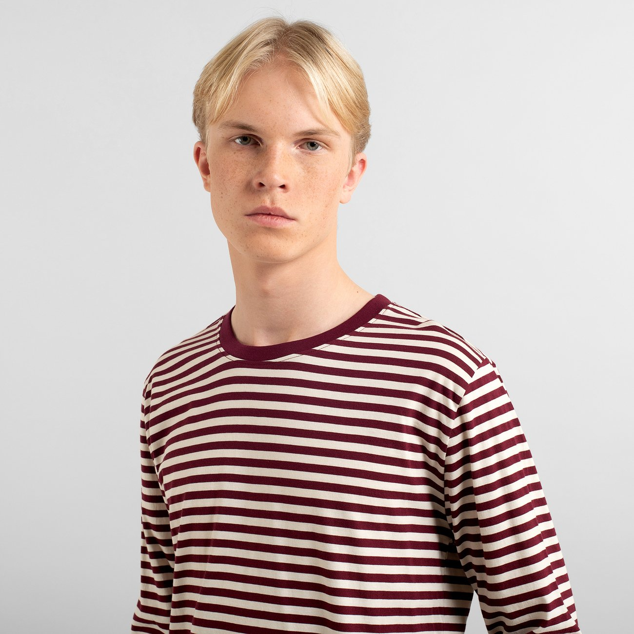Long Sleeve T-shirt Hasle Stripes Burgundy