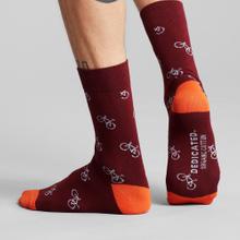 Socks Sigtuna Bike Pattern Burgundy