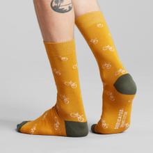 Socks Sigtuna Bike Pattern Golden Yellow