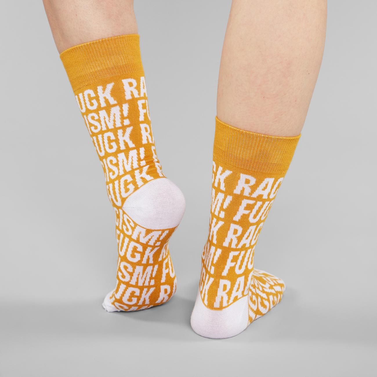 Socks Sigtuna Fuck Racism Pattern Golden Yellow