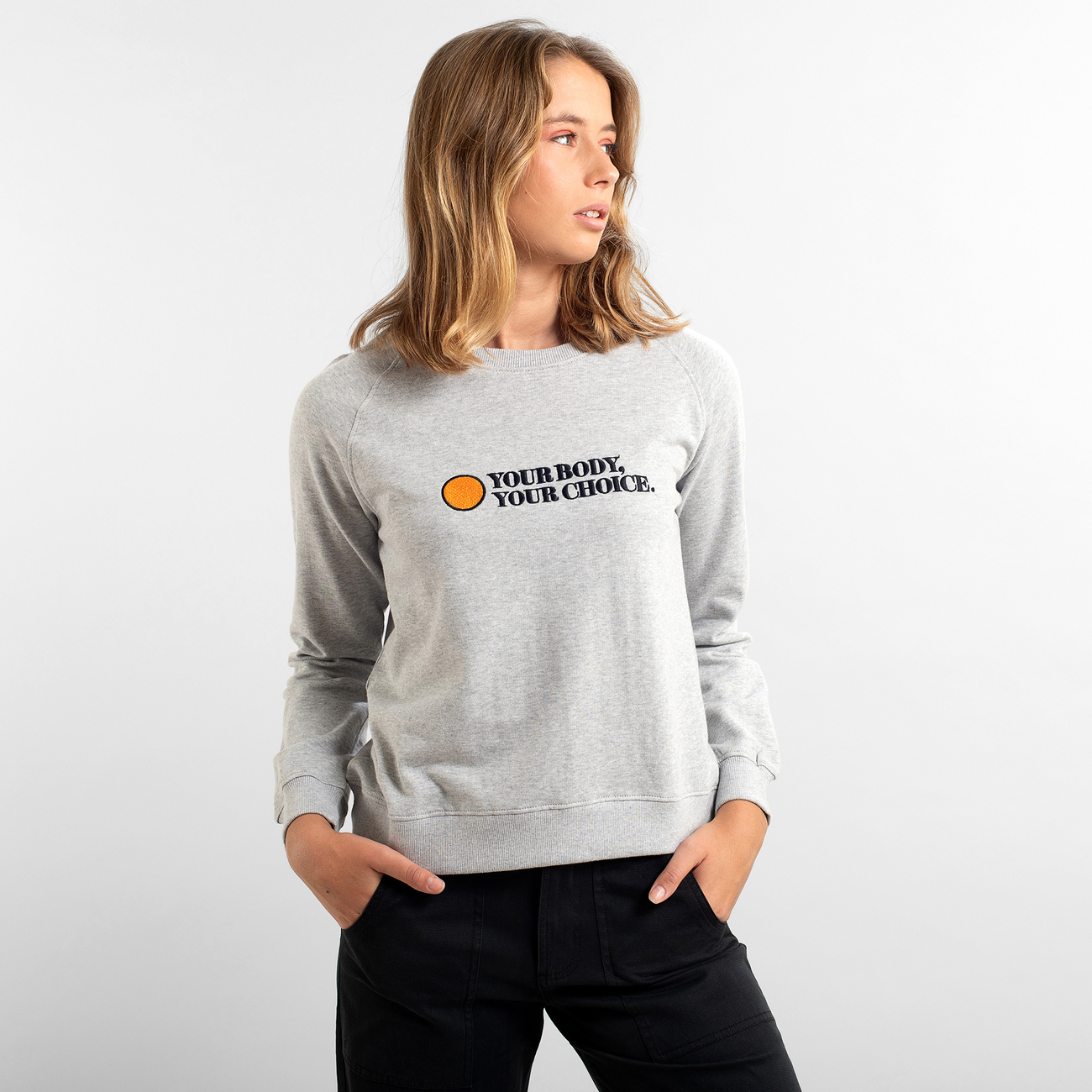 Sweatshirt Ystad Raglan Your Body Grey Melange