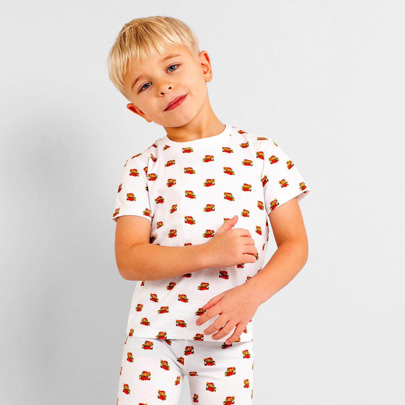 T-shirt Hamra Super Mario Pattern White