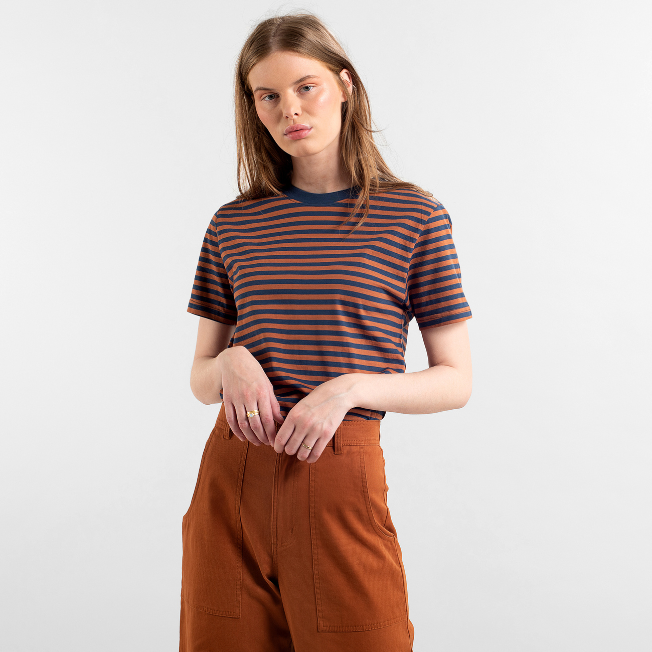 T-shirt Mysen Stripes Mocha Brown
