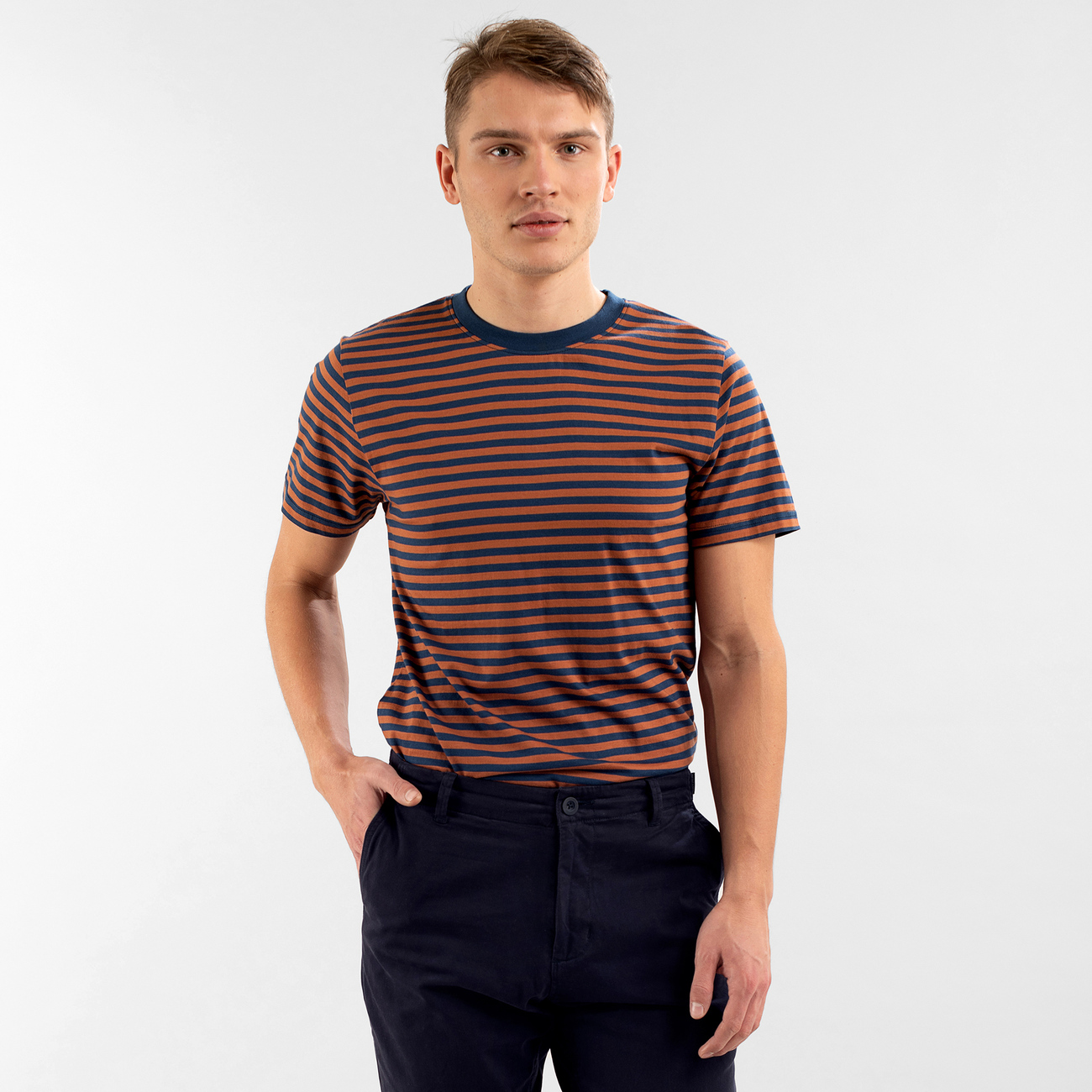 T-shirt Stockholm Stripes Mocha Brown
