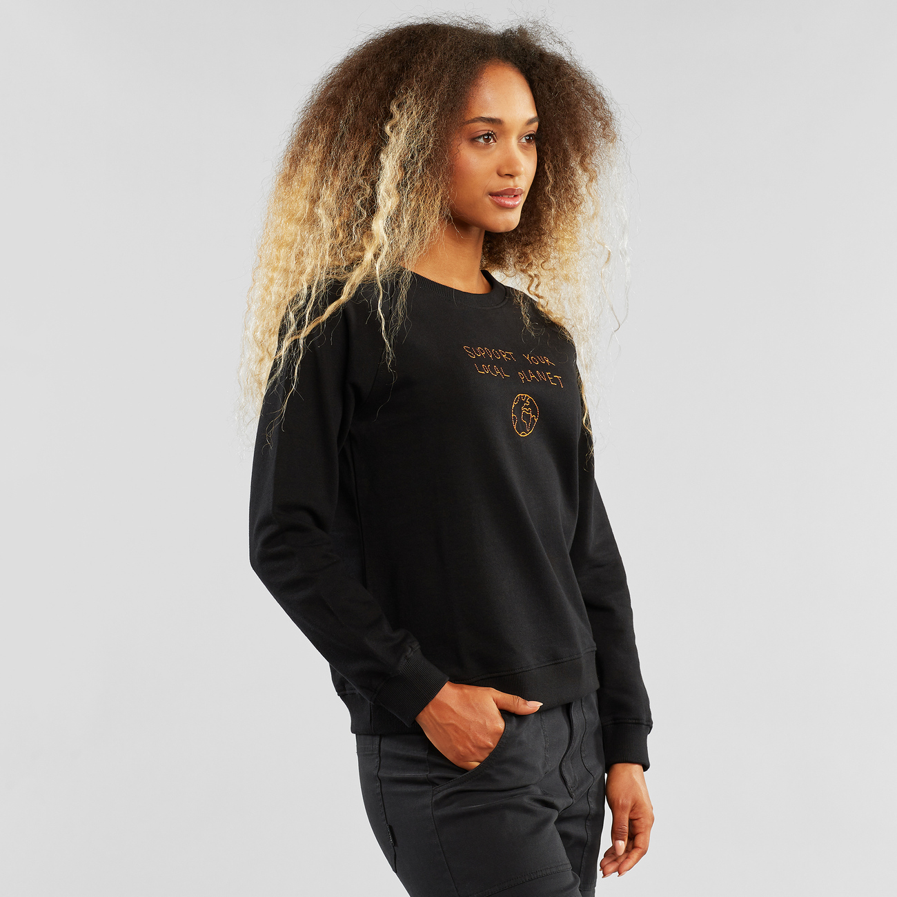 Sweatshirt Ystad Raglan Local Planet Black