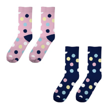 Socks Sigtuna 2-pack Multi Dots Pink and Navy