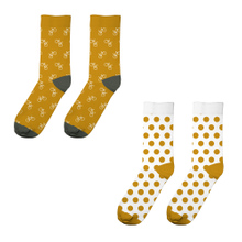Socks Sigtuna 2-pack Bike Pattern and Dots Golden Yellow