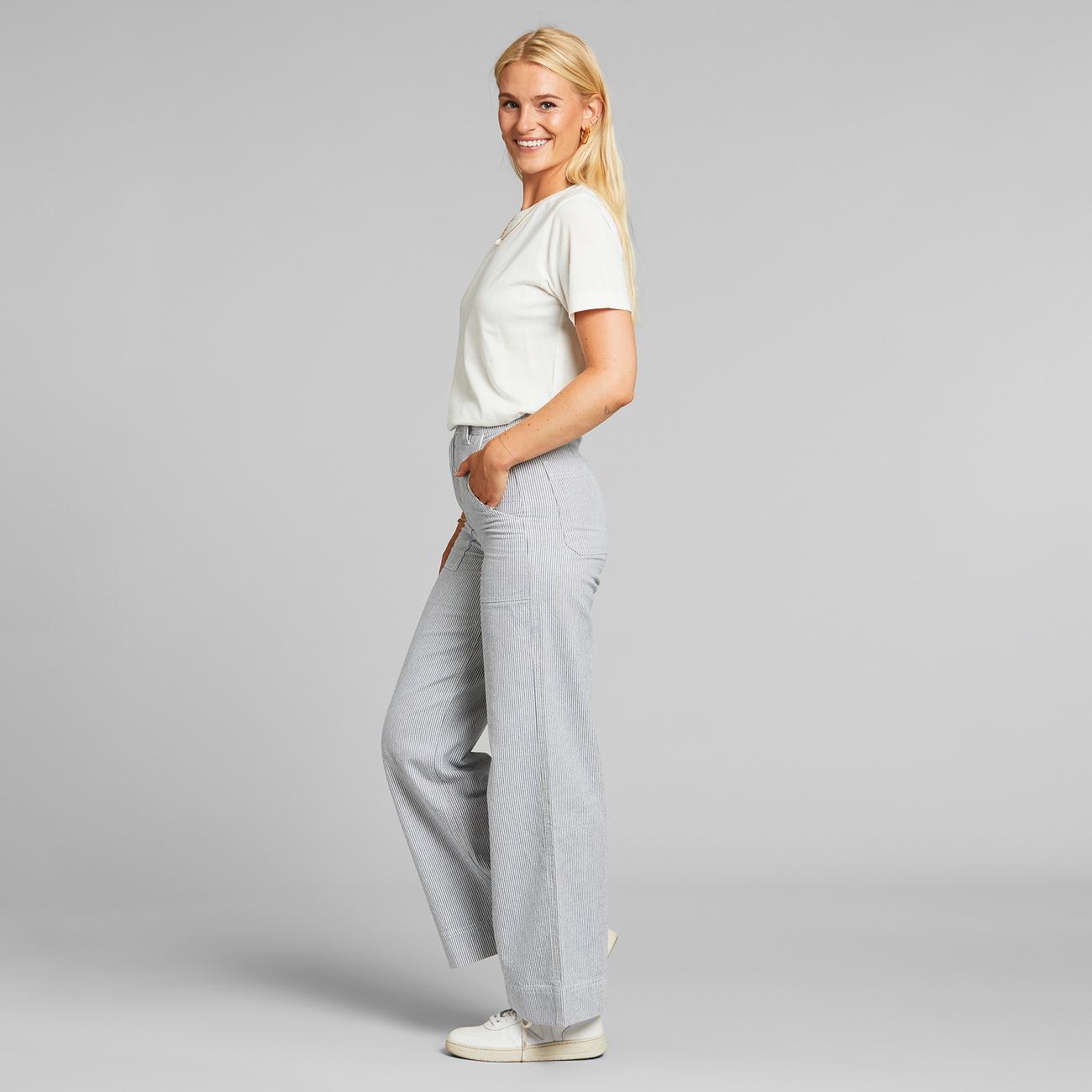 Pants Vara Workwear Thin Stripe Blue