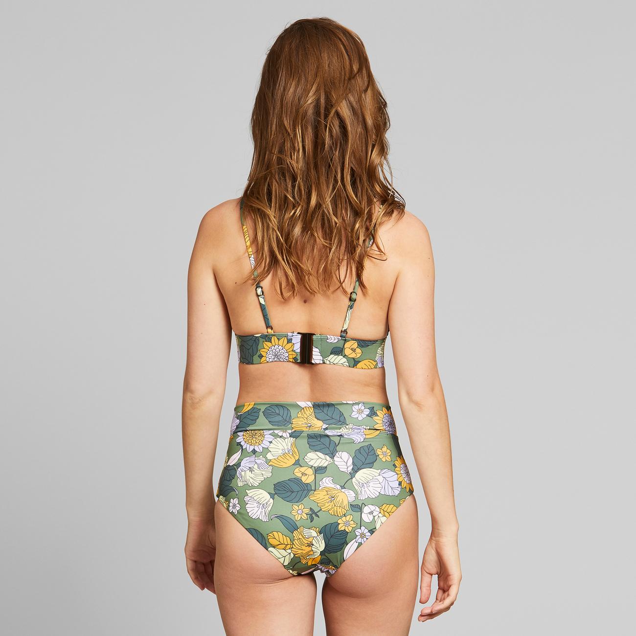 Bikini Pants Slite Seventies Floral Green