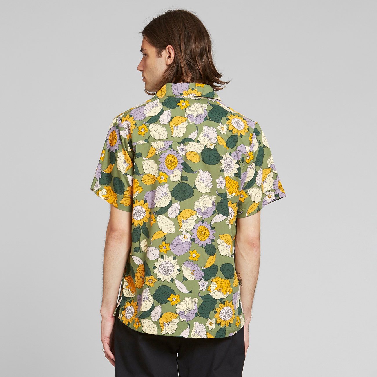 Shirt Short Sleeve Marstrand Seventies Floral Green