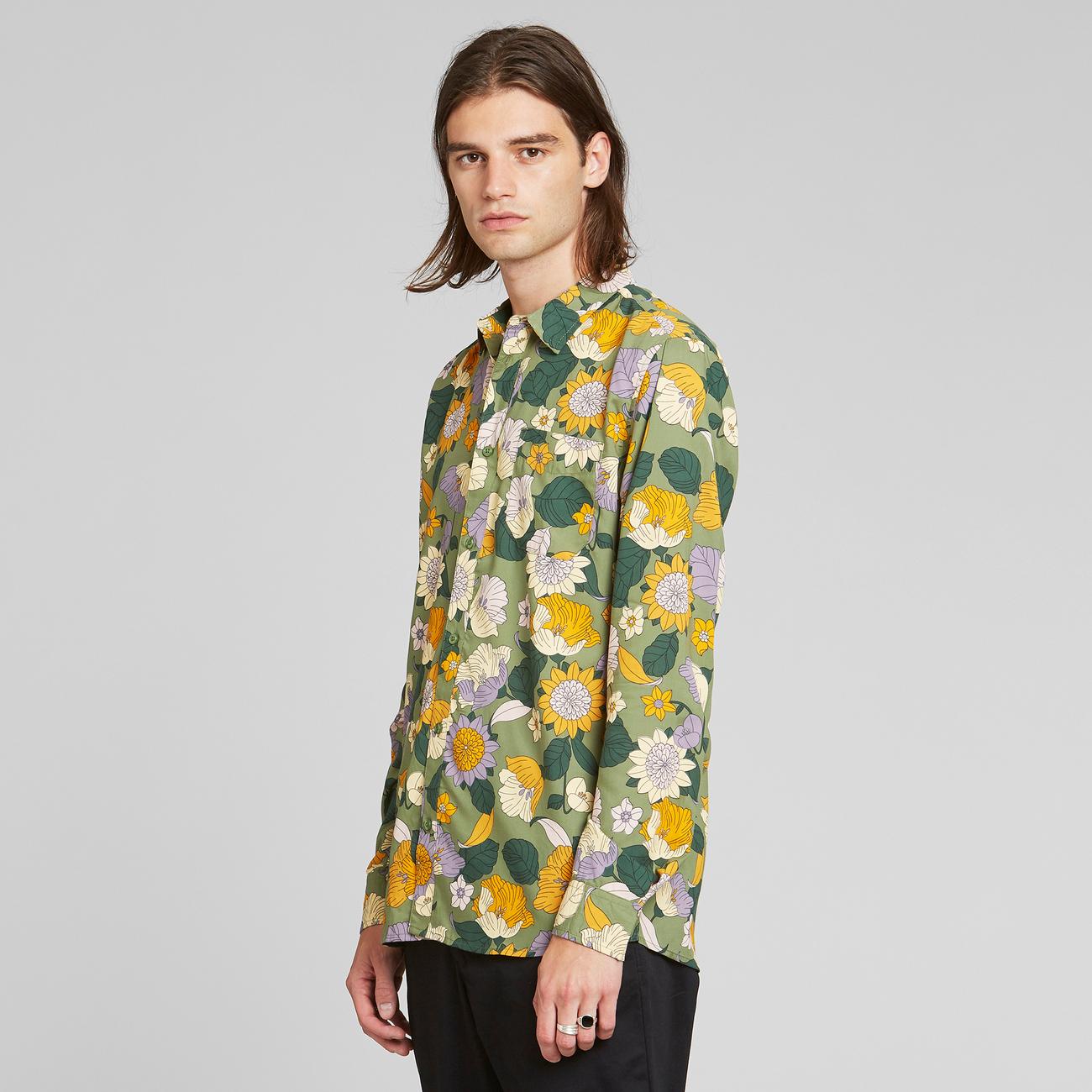 Shirt Varberg Seventies Floral Green