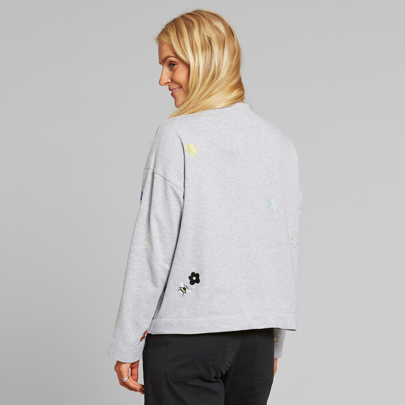 Sweatshirt Lerdala Flowers and Bees Grey Melange