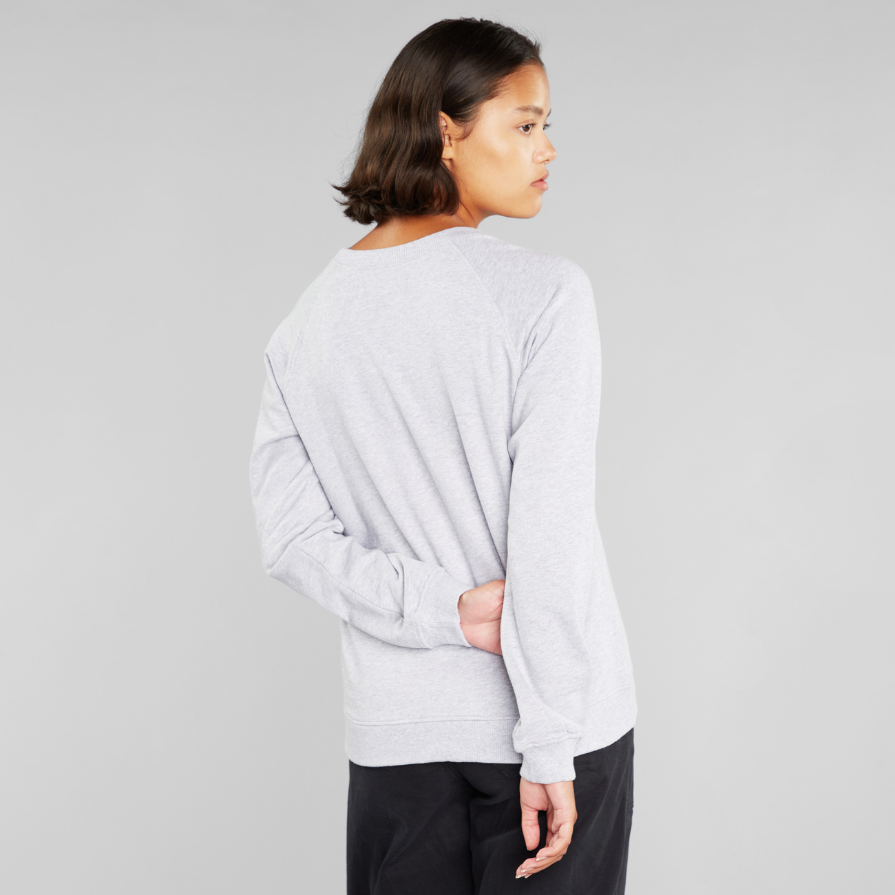 Sweatshirt Ystad Raglan Local Planet Grey Melange