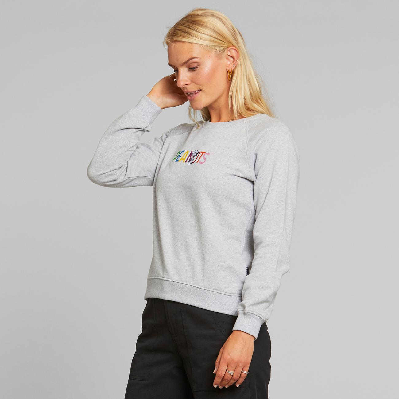 Sweatshirt Ystad Raglan Peanuts Logo Grey Melange