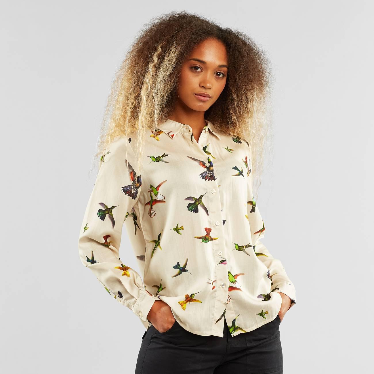 Shirt Dorothea Floral Hummingbirds Multi Color