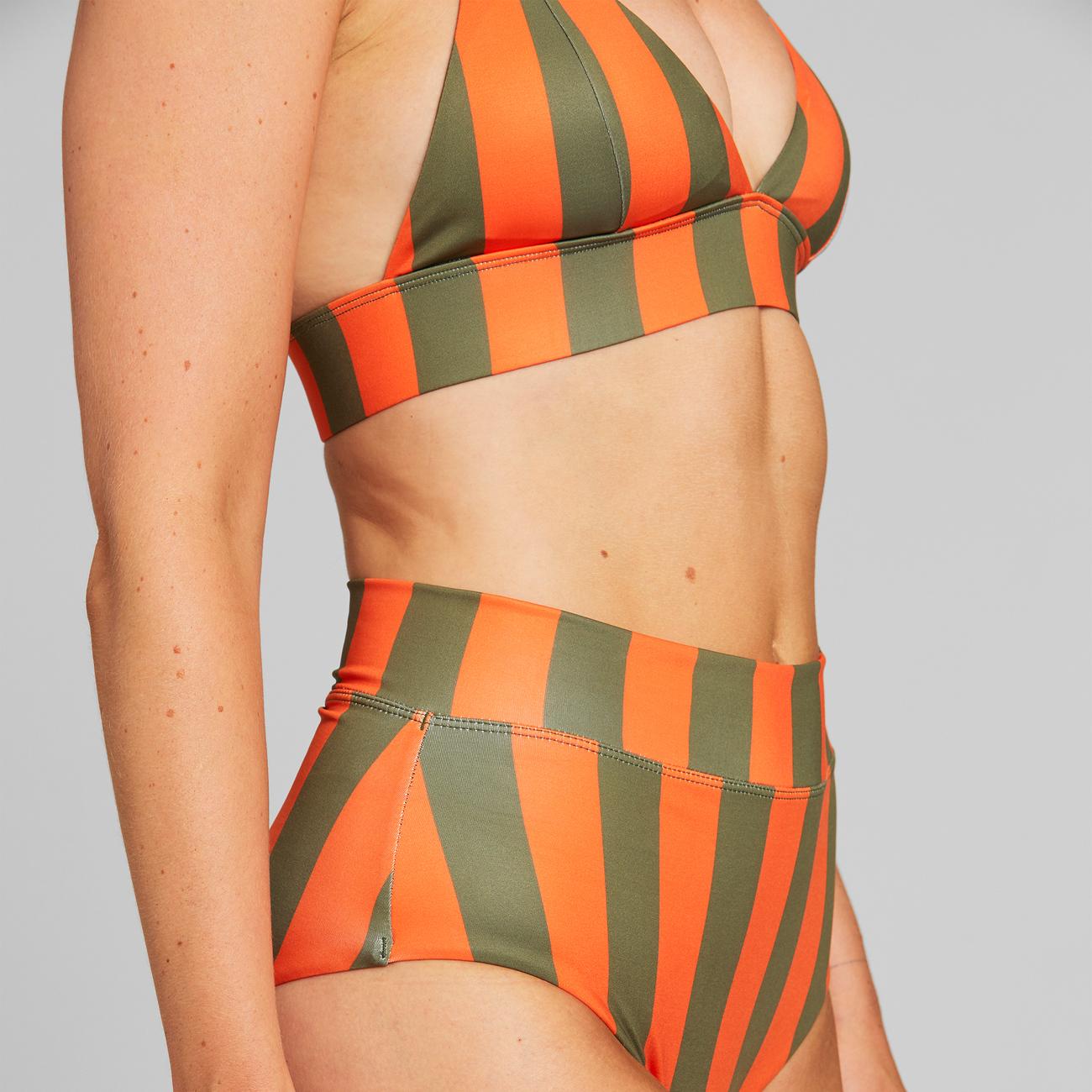 Bikini Pants Slite Big Stripes Orange