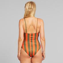 Wrap Swimsuit Klinte Big Stripes Orange