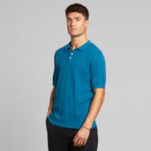 Short Sleeve Knitted Sweater Gnesta Petrol Blue