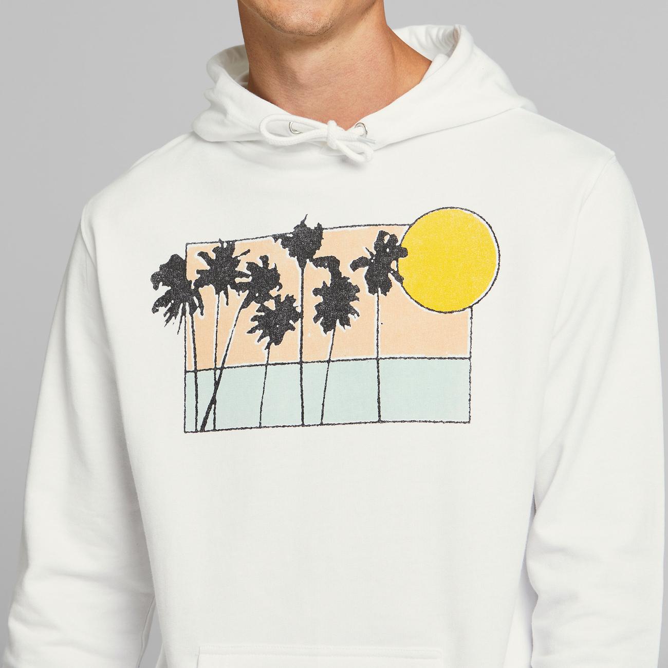Hoodie Falun Sunset Palms White