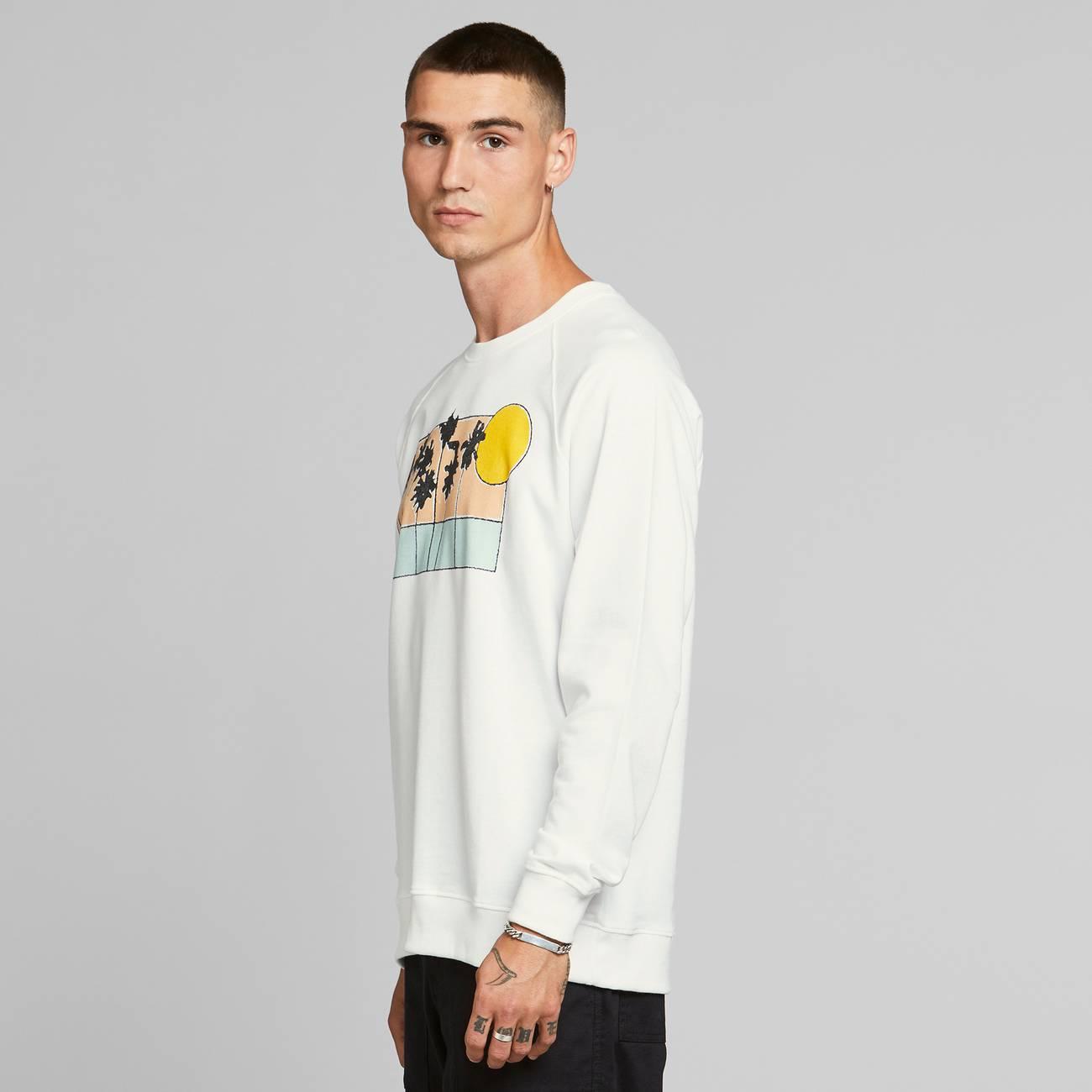 Sweatshirt Malmoe Sunset Palms White