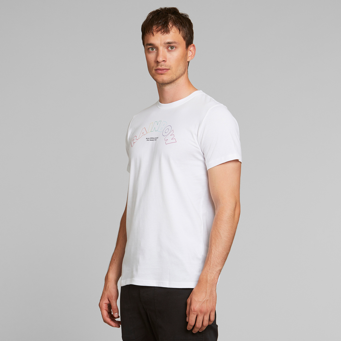 T-shirt Stockholm Rainbow Line White