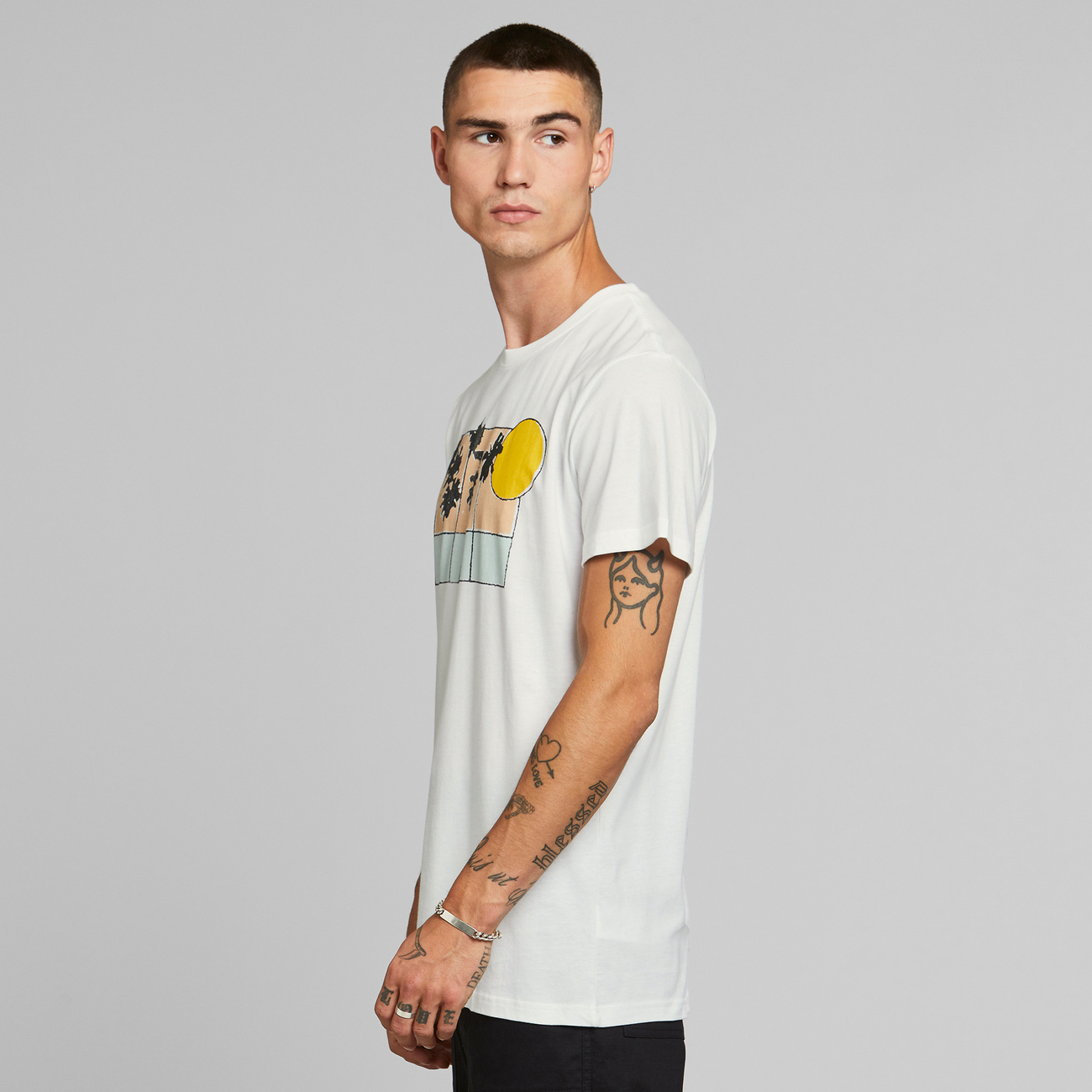 T-shirt Stockholm Sunset Palms White