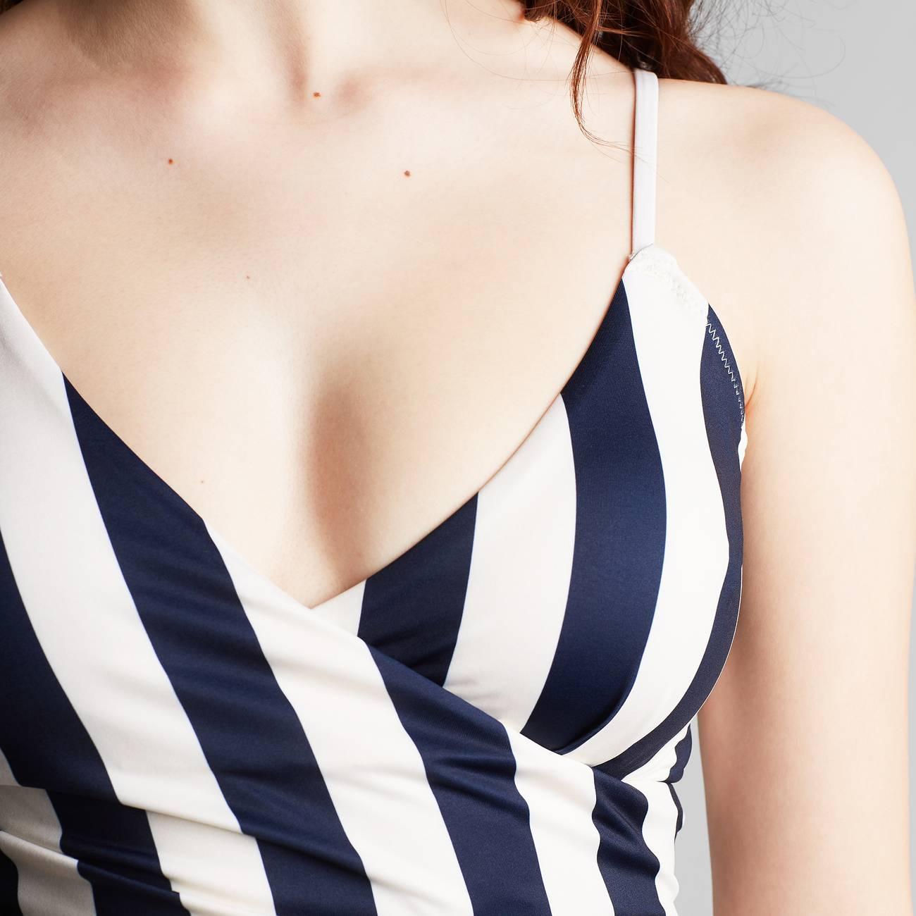 Wrap Swimsuit Klinte Big Stripes Navy