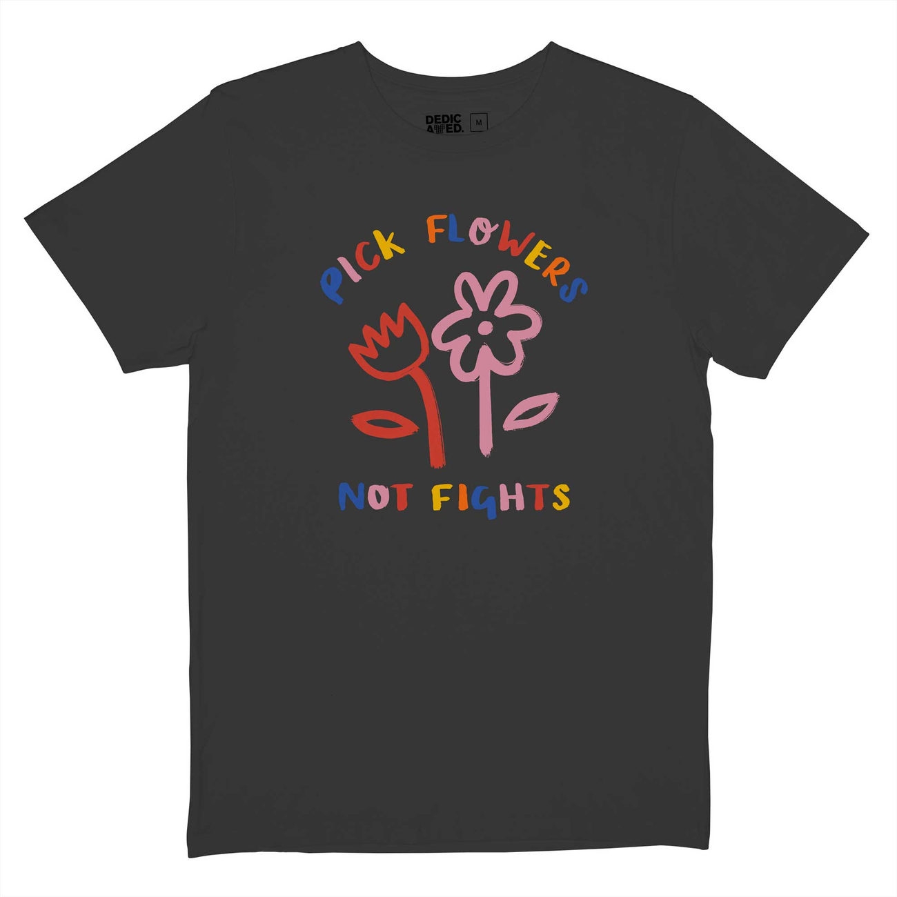 T-shirt Stockholm Flowers Not Fights Charcoal