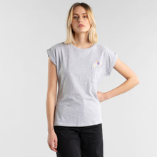 T-shirt Visby Flower Pocket Grey Melange