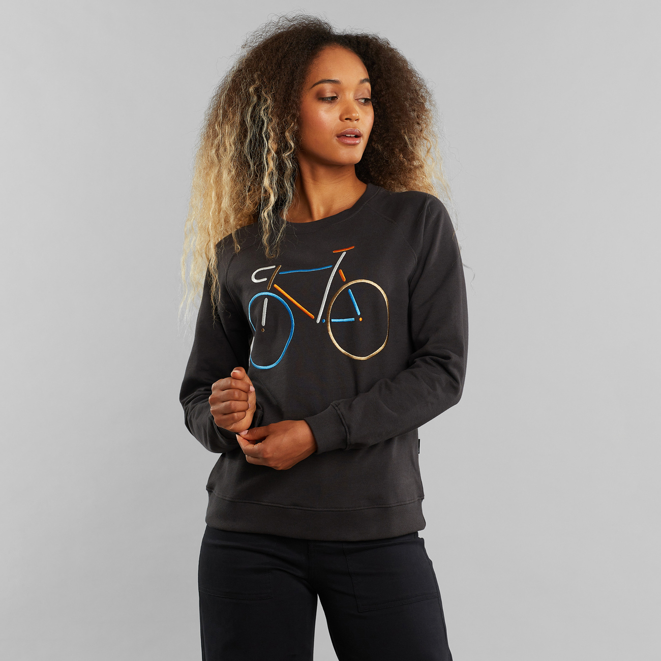 Sweatshirt Ystad Raglan Color Bike Charcoal