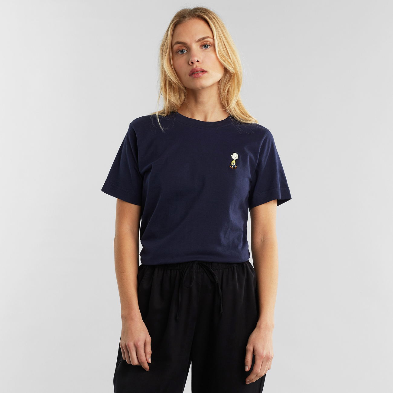 T-shirt Mysen Charlie Brown Embroidery Navy